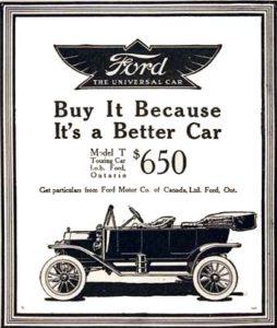 publicidad pionera del ford T